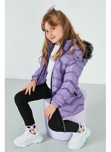Lela Lela Yakası Suni Kürklü Kapüşonlu Şişme Mont Kız Çocuk   Lila